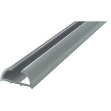 ALUMINIUM HALF ROUND SEMI FRAME-LESS FENCE POST 50 x 25mm SILVER - CODE# HRP1250S