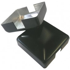 ALUMINIUM RAISED CAP SQUARE 50 x 50mm 2 WAY BLACK - CODE# ACS2B