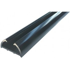 ALUMINIUM HALF ROUND SEMI FRAME-LESS FENCE POST 50 x 25mm BLACK - CODE# HRP1250B